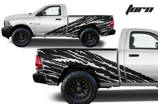 DODGE RAM 1500/2500 (2009-2018) CUSTOM VINYL DECAL KIT - HALFSIDE TORN