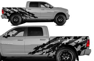 DODGE RAM 1500/2500 (2009-2018) 5.7 BED CUSTOM VINYL DECAL KIT - HALFSIDE SHRED