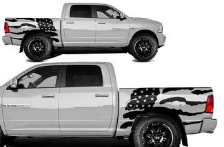 DODGE RAM 1500/2500 (2009-2018) 5.7 BED CUSTOM VINYL DECAL KIT - USA FLAG