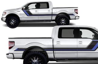FORD F-150 (2009-2014) SUPERCREW 5.5 BED CUSTOM VINYL DECAL WRAP KIT - RALLY STRIPES