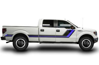 FORD F-150 (2009-2014) CREW CAB 6.5 BED CUSTOM VINYL DECAL WRAP KIT - RALLY STRIPE