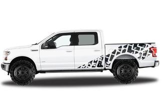 FORD F-150 (2015-2017) SUPERCREW 5.5 BED CUSTOM VINYL DECAL WRAP KIT - TIRE TRACKS
