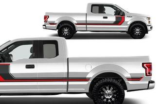 FORD F-150 (2015-2017) SUPERCAB 6.5 BED CUSTOM VINYL DECAL WRAP KIT - RALLY STRIPES 2