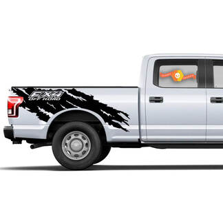 FORD F-150 (2015-2017) SUPERCAB 6.5 BED VINYL REAR DECAL WRAP KIT - FX4 TORN