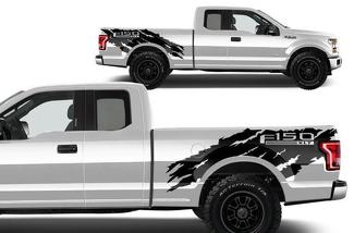 FORD F-150 (2015-2017) 6.5 BED VINYL REAR DECAL WRAP KIT - F-150 TORN