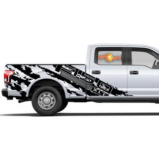 FORD F-150 (2015-2017) SUPERCREW 6.5 BED CUSTOM VINYL DECAL WRAP KIT - F-150 SHREDS