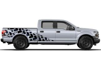 FORD F-150 (2015-2017) SUPERCREW 6.5 BED CUSTOM VINYL DECAL WRAP KIT - TIRE TRACKS