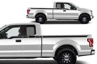 FORD F-150 (2015-2017) SUPERCAB 6.5 BED CUSTOM VINYL DECAL WRAP KIT - UPPER RALLY STRIPE