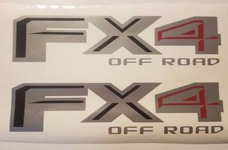 FX4 Off Road 2017 Decal Gray Black Matte en Red, Decal Sticker Ford Truck (Set)