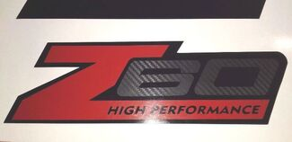 Z60 stickers decal carbono fiber High Performance chevy chevrolet (Set)