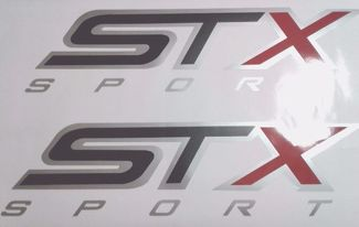 STX sport decal stickers, black matt and gray ford truck (set)