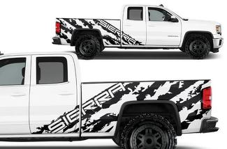 GMC SIERRA (2014-2017) CREW CAB CUSTOM VINYL DECAL WRAP KIT - SIERRA SHRED
