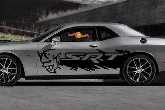 Dodge Demon Challenger SRT Seitenspritzer Logo Auto Mopar Vinyl Aufkleber Grunge Grafik