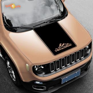 Jeep Renegade Mountain Graphic Vinyl Decal Sticker Hood Cast Option