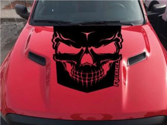 2015-2017 Dodge Ram Rebel Graphic Skull Hood Truck Vinyl Decal Options Color