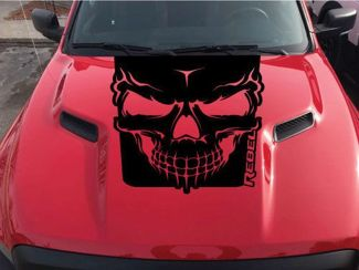 2015-2017 Dodge Ram Rebel Skull Hood Truck Vinyl Decal Graphic Options Color