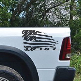 Dodge Ram Rebel American Flag Distressed Side Logo Truck Vinyl Decal Graphic