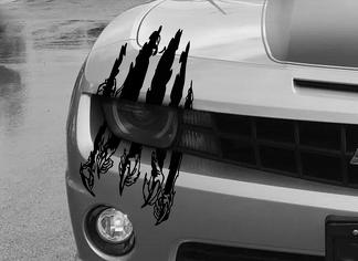 Claw Scar Mark Decal Hood Headlight Scratch Car Vehicle Camaro Marks