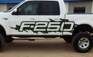 Ford F-250 Side Splash Grunge F250 Vinyl Decal Graphic Pickup Pick Up Bed Truck