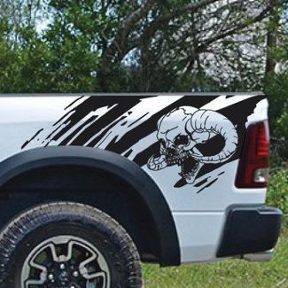 Horned Skull Splash Splatter Grunge Pickup Truck Vinyl Decal bed Graphic Cast