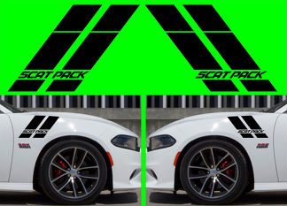 2X Dodge CHARGER Scat Pack Hash Stripes 2015-2018 Vinyl Decal HELLCAT SRT RT SXT