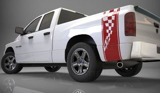 1500 2500 3500 Truck Bed Side Stripe Checkered Flag Dodge Decal Sticker DS016A