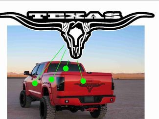 Skull Texas Longhorn Decal Rear Window Graphic Truck Stickers Tailgate Inserts