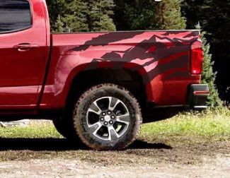 ANTERO Truck Bed Mountain Vinyl Graphic Decals Stripe 2015-2016 Chevy Colorado