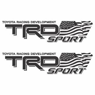 Toyota TRD sport Racing Tacoma Tundra 2 Flag US Decal Vinyl Pair Sticker Truck j