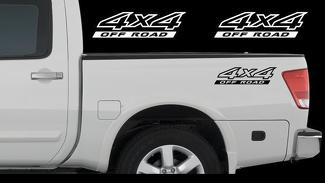 2X Nissan Titan 4x4 Off Road Truck Bed Decal Set Emblem Vinyl Stickers