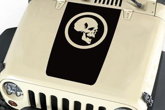 Skull Hood Blackout Vinyl Decal Sticker (14 circle) fits: Jeep Wrangler JK TJ YJ