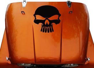 Skull Hood Vinyl Decal Sticker (12) fits: Jeep CJ 5, 6, 7, 8