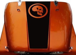 Skull Hood Blackout Vinyl Decal Sticker (14 Circle) fits: Jeep CJ 5, 6, 7, 8