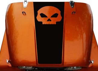 Skull Hood Blackout Vinyl Decal Sticker (21) fits: Jeep CJ 5, 6, 7, 8