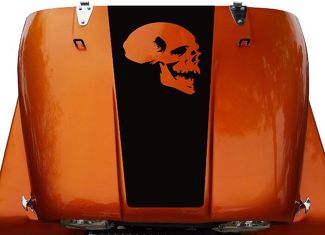 Skull Hood Blackout Vinyl Decal Sticker (14) fits: Jeep CJ 5, 6, 7, 8