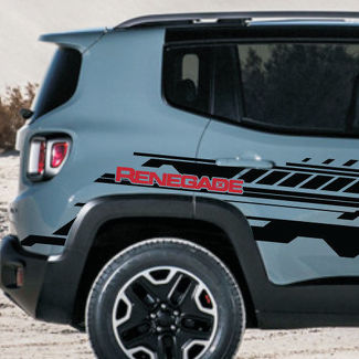 2 Color Jeep Renegade logo Technical Stripe Grunge Graphic Vinyl Decal Sticker