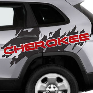 2 Color Jeep Cherokee Logo Trailhawk Side Splash Logo Graphic Vinyl Decal Grunge