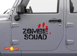 Pair Zombie Squad Outbreak Response Jeep Blood Door Decal Vehicle Truck Car Vinyl