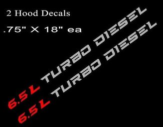 6.5L TURBO DIESEL Hood Decals Stickers Chevy Silverado GMC Sierra RD/SLV