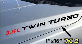 2x 3.5L Twin Turbo Hood Sticker Decals Embleem Ford F150 Ecoboost V6