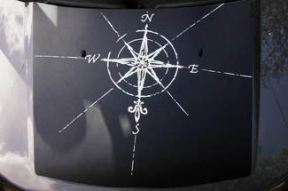 Compass Hood Blackout 2 Colors Graphic Vinyl Decal Custom size fits to Jeep Land Rover Toyota