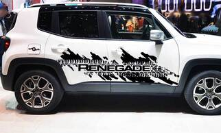 Jeep Renegade Side Splash Tire Tracks Logo Graphic Vinyl Decal Sticker