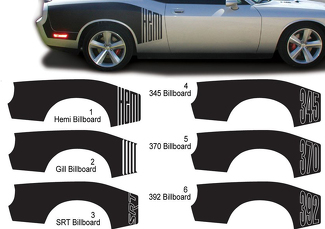 Challenger Billboard Vinyl Graphic Decals Dodge Challenger Hemi 345 370 392 STR  2009 - 2015