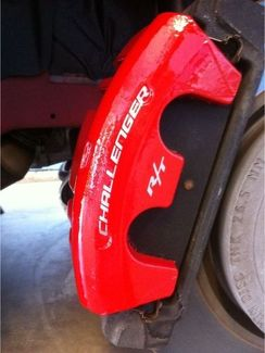 Dodge Challenger R/T Curved Caliper Brake HIGH TEMP Vinyl Decal (Any Color) 6X