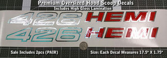 426 Hemi Oversized Hood Scoop Decals X2 PAIR 1970 1971 Mopar 17.5
