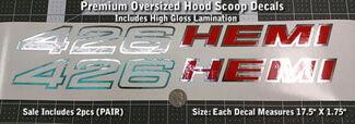 426 Hemi Oversized Hood Scoop Decals X2 PAAR 1970 1971 Mopar 17,5