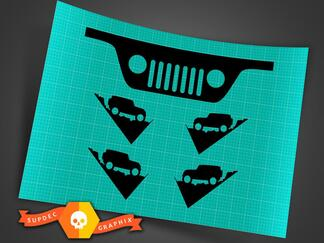 JEEP WRANGLER Windshield Replacement Decals (JK, TJ), Grill and Corner, Replica