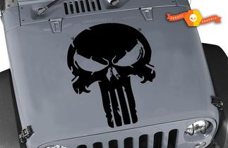 DISTRESSED PUNISHER SKULL VINYL DECAL JEEP HOOD FORD CHEVY DODGE
