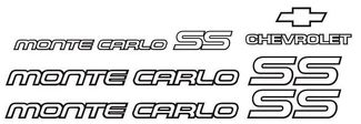 Monte Carlo SS 85 86 Restoration Vinyl Decals Stickers Kit Chevy 1985 1986