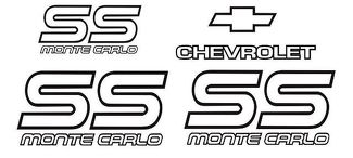 Monte Carlo SS 87 88 Restoration Vinyl Decals Stickers Kit Chevy Graphic